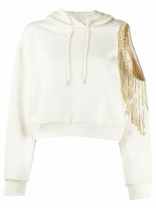 AREA long sleeve cut out embellished hoodie - NEUTRALS