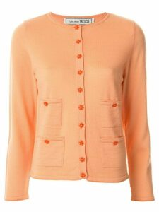 Tu es mon TRÉSOR flower button cardigan - ORANGE