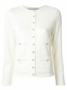 Tu es mon TRÉSOR crystal embellished pocket cardigan - White