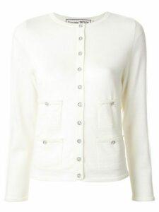 Tu es mon TRÉSOR crystal embellished pocket cardigan - White