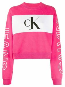 Calvin Klein Jeans loose-fit logo panel sweatshirt - PINK