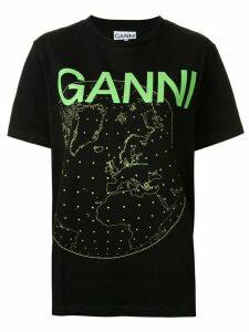 GANNI globe print logo T-shirt - Black