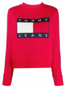 Tommy Jeans flag logo crew-neck sweatshirt - Red