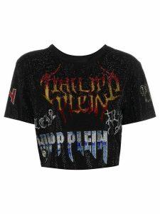 Philipp Plein embellished rock print cropped T-shirt - Black