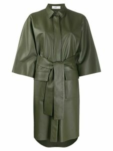 Closed belted shirt dress - Green