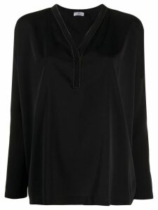 Brunello Cucinelli V-neck long sleeve blouse - Black