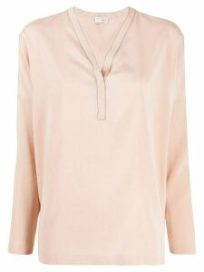 Brunello Cucinelli V-neck long sleeve blouse - PINK