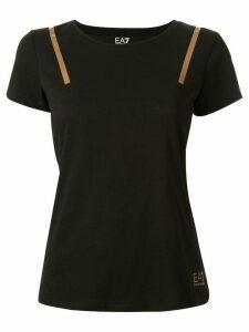 Ea7 Emporio Armani Ventus stripe appliqué T-shirt - Black