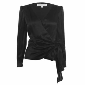 MICHAEL Michael Kors Long Sleeve Sateen Wrap Blouse