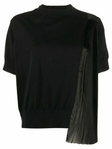 Sacai side pleated detail knitted top - Black