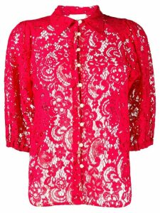 Semicouture sheer lace shirt - Red