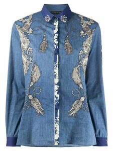 Etro bandana-print denim shirt - Blue