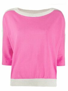 LIU JO contrast ribbed knit top - PINK