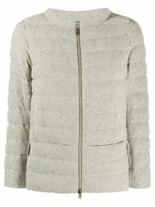 Herno funnel-neck quilted bouclé jacket - NEUTRALS