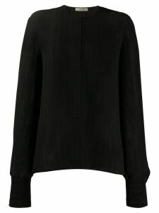 The Row round neck ribbed knit top - Black