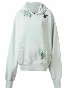 We11done monogram logo print hoodie - Blue