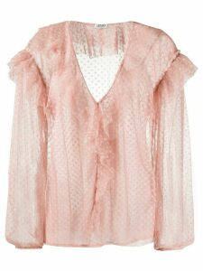LIU JO ruffled neck polka dot blouse - PINK