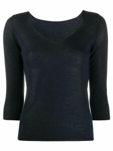 Roberto Collina fine-knit v-neck jumper - Blue
