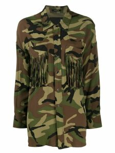 R13 fringed camouflage print shirt - Green