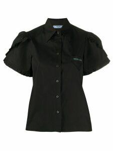 Prada ruffle-trimmed cotton shirt - Black