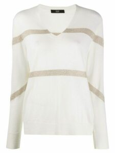 Steffen Schraut striped v-neck jumper - White