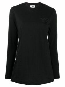 Y-3 logo print long-sleeved T-shirt - Black