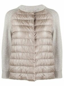 Herno knit-panel quilted-down jacket - NEUTRALS