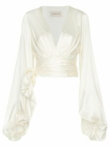 Alexandre Vauthier balloon sleeve silk-blend blouse - White
