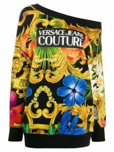 Versace Jeans Couture Barocco print off-shoulder sweatshirt - Black