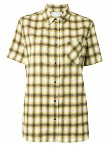 Sacai chiffon-panelled flannel shirt - Yellow