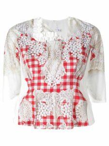 Comme Des Garçons Comme Des Garçons embroidered vichy blouse - White