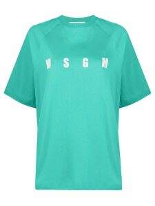 MSGM logo-print box-cut T-shirt - Blue