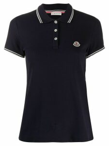 Moncler logo patch polo shirt - Blue