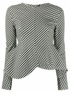 A.W.A.K.E. Mode asymmetric check blouse - Black