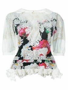 Comme Des Garçons Comme Des Garçons floral print ruffle hem blouse -
