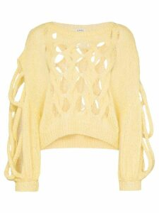 Loewe Hole detail cable knit jumper - Yellow