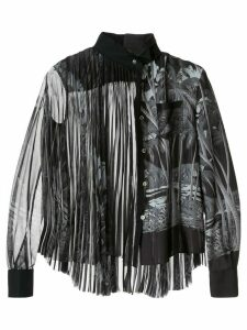 Sacai palm tree print pleated blouse - Black
