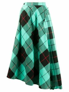 Charles Jeffrey Loverboy asymmetric tartan skirt - Blue