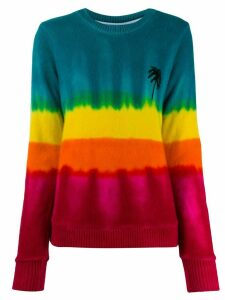 The Elder Statesman tie-dye palm tree knit jumper - Blue