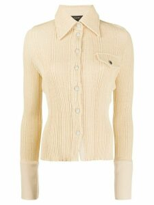 Ellery ribbed-knit button-down shirt - NEUTRALS