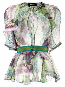 Dsquared2 floral-print peplum-hem chiffon blouse - PURPLE
