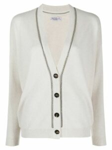 Brunello Cucinelli bead trim cardigan - NEUTRALS