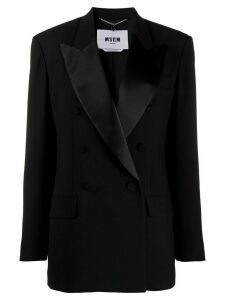MSGM satin-lapel double breasted blazer - Black