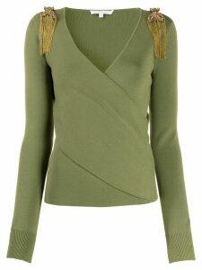 Patrizia Pepe embellished wrap-style jumper - Green