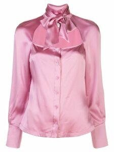 Fleur Du Mal tie neck decollete blouse - PINK