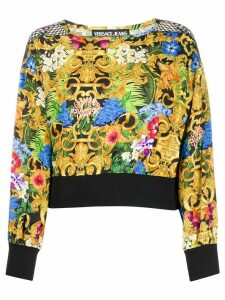 Versace Jeans Couture digital floral baroque mesh detail top - Black