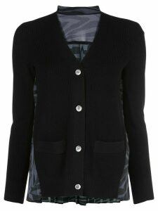 Sacai contrasting panel cardigan - Black