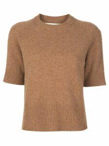 Victoria Beckham half raglan sleeves knitted top - NEUTRALS