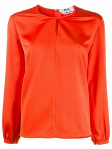 MSGM twisted-neck satin blouse - ORANGE