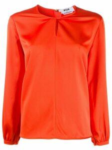 MSGM twisted-neck satin blouse - ORANGE